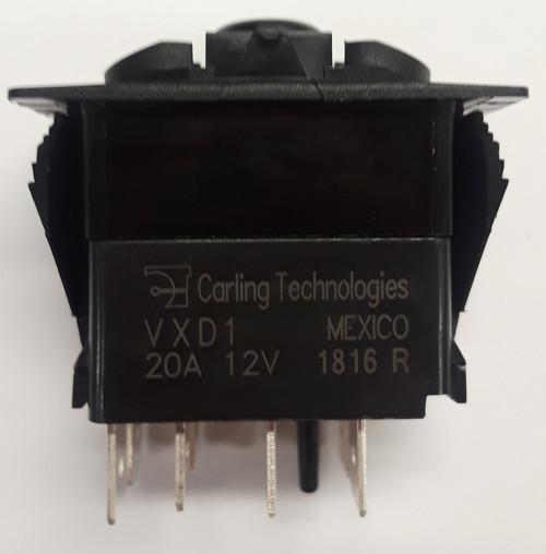 VXD1AX0B-00000-000-XRYF1, Special DPTT Carling Rocker Switch with Blue Led