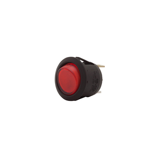 round rocker, on off, illuminated, lit, spst, red lens, 12 volt, quick connect,