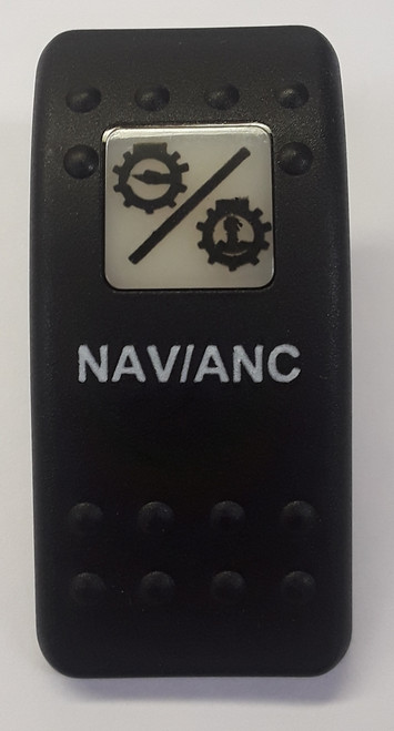 Carling VVA9C00-5XX/Nav_Anc Black Switch Cap with Nav/Anc Icon on white square lens, Words on Body