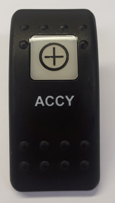 Carling VVA9C00-5XX/Accy Black Switch Cap with Accessory Icon on white square lens, ACCY on Body