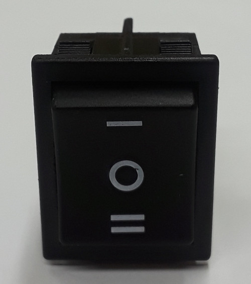 square rocker switch, midsize, dpdt, on off on, maintained, i/o markings, e-switch, rb246c1129