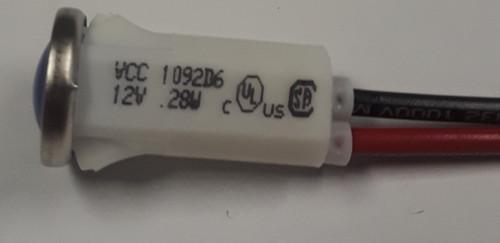 indicator light, 12 volt, led, blue, wire leads, half inch mounting, 1092D6-12V