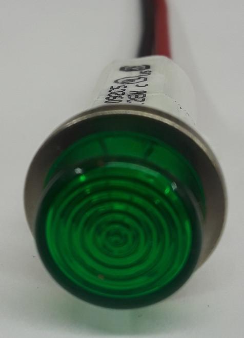 12 Volt Green High Hat Lens LED Indicator Light, Wire Leads, 1092C5-12V
