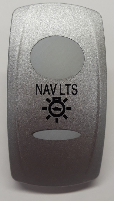 Nav Lights Switch Cap, Carling V Series Rocker Switch Actuator, Nickel with 2 white lens and Nav Lights Icon,033-0348