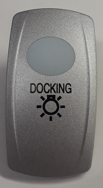 Docking Lights Carling V Series Rocker Switch Cap, Nickel with 1 White Lens, Docking Lights Icon,033-0347
