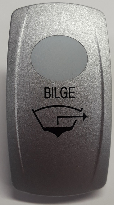Bilge Rocker Switch Cap, Nickel with 1 White Lens, Bilge Icon, Carling V Series