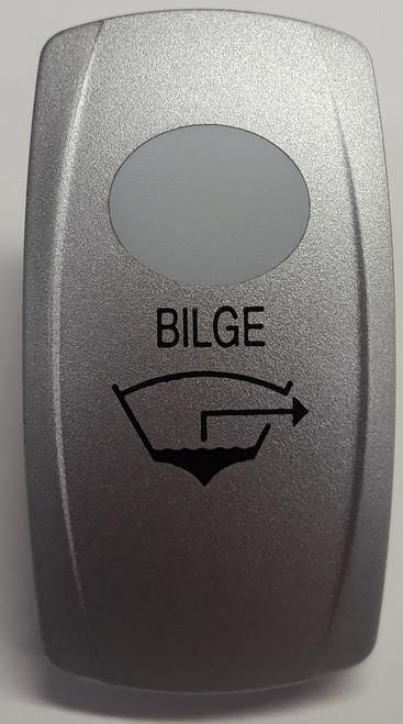 Bilge Rocker Switch Cap, Nickel with 1 White Lens, Bilge Icon, Carling V Series,033-0350