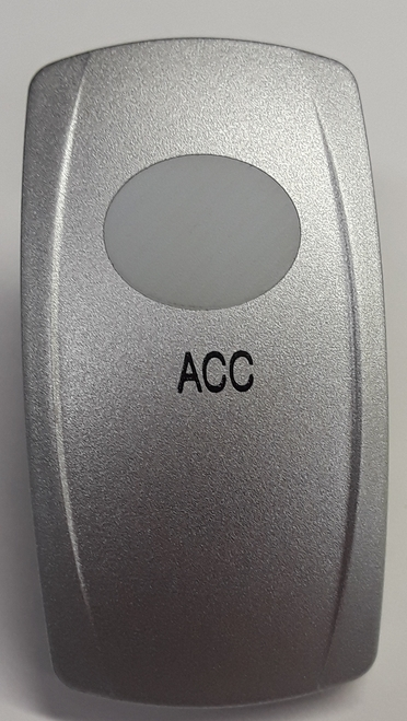 Nickel Accessory Rocker Switch Cap, Nickel with 1 White Lens, ACC Icon, Carling V Series,033-0346