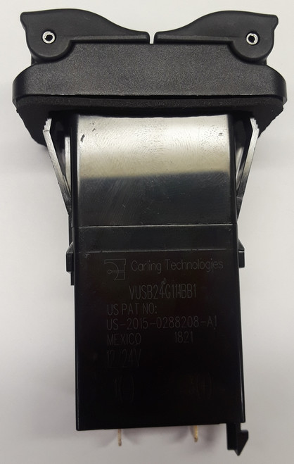 Carling V Series Dual Port USB Charger with Green LED, V-USB-24-G11-1BB1,46026432,usb-00000005