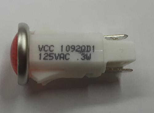 Red Round 125 Volt LED Indicator Light, Spade Terminals, 1092QD1-125VAC, 07000171