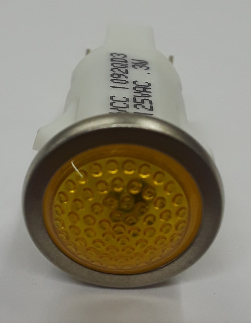 Round 125 Volt Amber LED Indicator Light, Spade Terminals, 1092QD3-125VAC