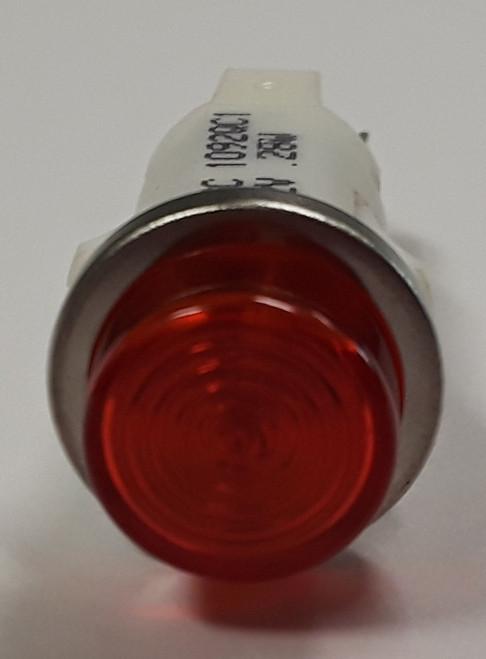 indicator light, 12 volt, led, red, high hat, spade terminals, half inch mounting, 1092QC1-12V