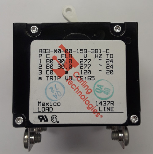 Carling Technologies Circuit breaker, A series, 3 pole, AB3-X0-00-159-3B1-C