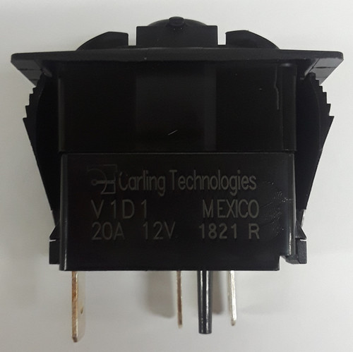 V1D1BC0B Carling V Series Rocker Switch, On-Off, Single Dependent Red LED