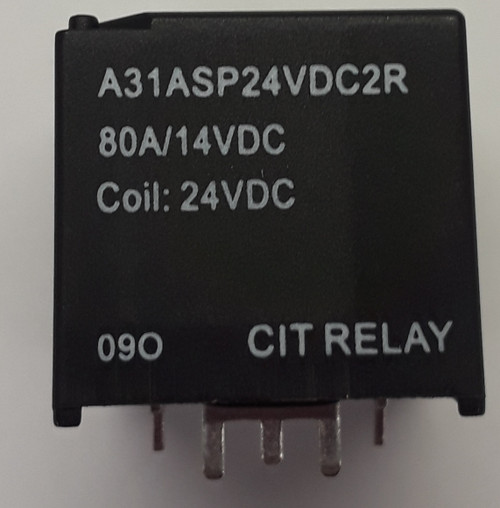 CIT, 80 amp, automotive relay, normally open, heavy duty relay, pc terminals, resistor, A31ASP24VDC2R