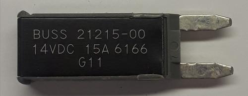 21215-00 Cooper Bussmann Type 2 mini circuit breaker, modified reset, 15 amps, 14 vdc