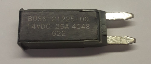 21225-00 Cooper Bussmann Type 2 mini circuit breaker, modified reset, 25 amps, 14 vdc