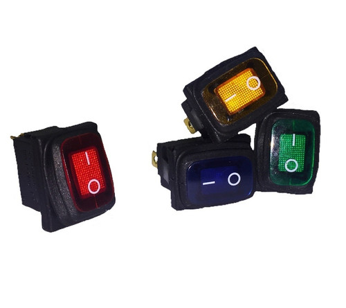 Green Sealed Miniature Illuminated Rocker Switch, 12 Volt Green LED KCD1-2-101NW-C3-GB-12V