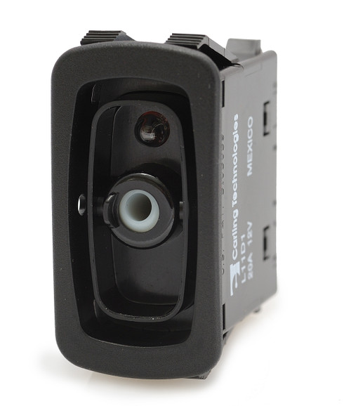 L11D1AN01 carling L series rocker switch, raised bezel, single pole, On-Off, one independent amber led