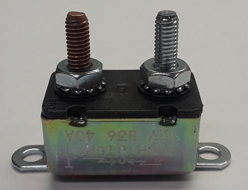 40 amps, circuit breaker, short stop, cooper bussmann, metal cover, bracket, stud terminals, type 1, auto reset, 121b40-b2m-ka