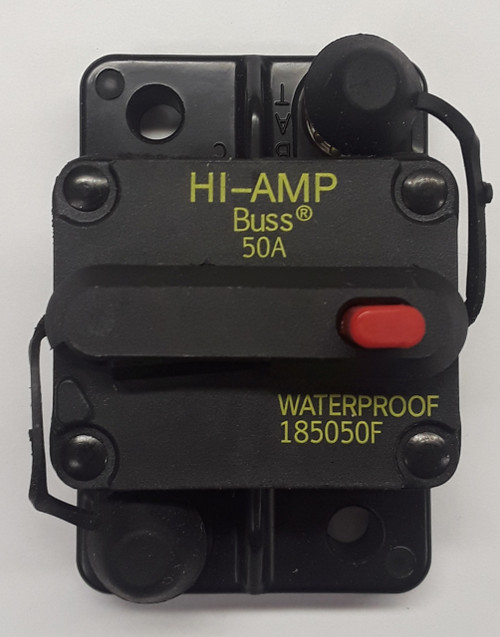 185050F-01-1, 50 amp, circuit breaker, surface mount, bussmann, 180 series,  manual reset, push to trip button, tripped indicator bar