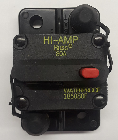 185080F-01-1, 80 amp, circuit breaker, surface mount, bussmann, 180 series,  manual reset, push to trip button, tripped indicator bar