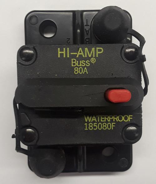185080F-01-1, 80 amp, circuit breaker, surface mount, bussmann, 180 series,  manual reset, push to trip button, tripped indicator bar