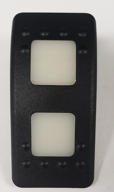 Carling, V Series, switch cap, actuator, hard black, 2 white square lens, 464-11061-468