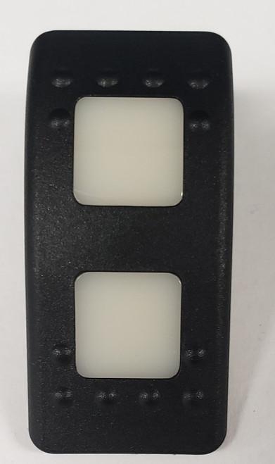 Carling, V Series, switch cap, actuator, hard black, 2 white square lens, 464-11061-468