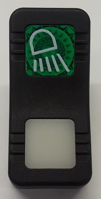 VV1K958-100, Carling, hard black actuator, 1 green square lens, 1 white square lens, contura X, rocker switch cap, work light icon