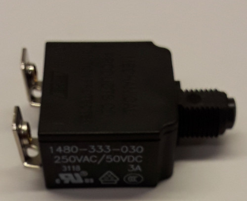 1480-333-030-A9 Push to reset circuit breaker, 3 amp, black button, bent screw terminals , type 3, manual reset, marine circuit breaker, mechanical products, 1480 series, mini circuit breaker, 043-1003c