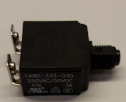 1480-333-030-A9 Push to reset circuit breaker, 3 amp, black button, bent screw terminals