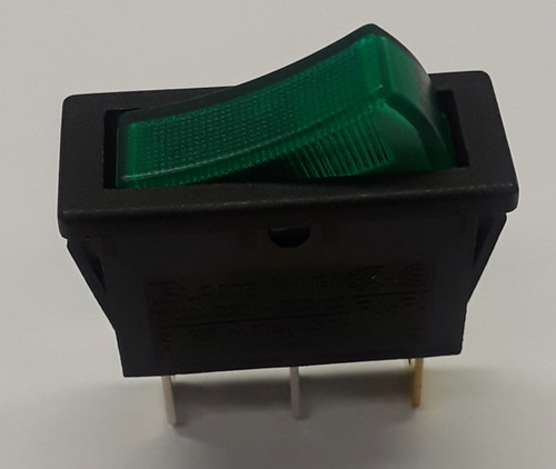 on off rocker switch, fully illuminated, green lit rocker, RB141C1000-134, 15 amps, spade terminals, maintained rocker, 12 volt green rocker switch