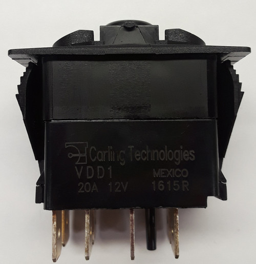 VDD1A60B Double Pole Carling V series On-On rocker switch, Single lamp, spade terminals