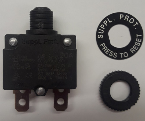 CMB-203-11C3B-B-A/20 Mini 20 Amp Thermal Breaker M11 Bushing, Spade Terminals, metric mounting circuit breaker,00000775,78-0206,e000001