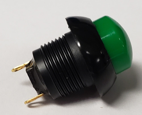 push button, otto, latching, on off, maintained,  raised green button, solder terminals, P9M-211125