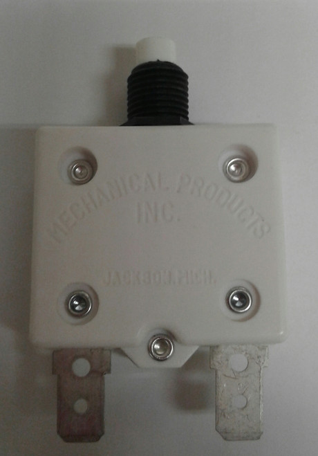 "Mechanical Products, 5 amp, push to reset breaker, 3/8""-27 bushing, quick connects, amp stamp,1680-037-050"