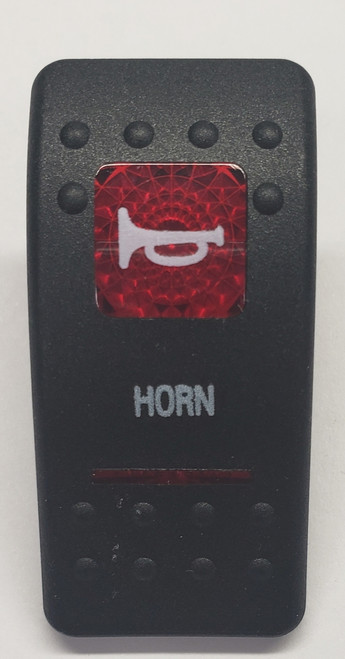 Carling V Series rocker switch cap, actuator, dual red lens, horn switch cap, marine, VVASC89-1MD
