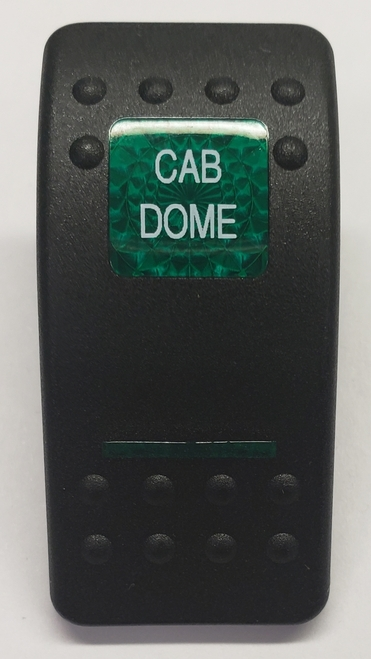 Carling V Series rocker switch cap, actuator, dual green lens, cab dome switch cap, VVALC00, Contura II