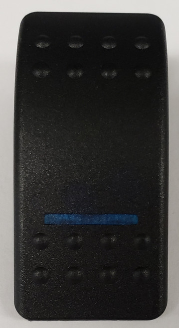 Carling, v series, hard black, 1 blue bar lens, switch cap, actuator, VVAVC00-000, Contura II, single blue lens, black body