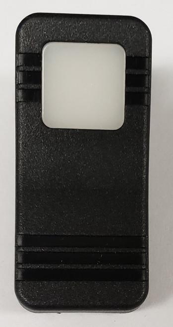 VV19Z00-000, Carling, hard black actuator, 1 white square lens, contura X, rocker switch cap, single white lens, black body