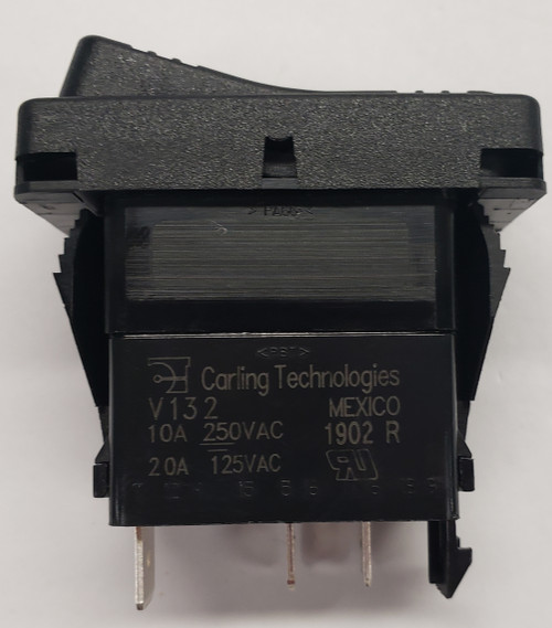 Carling rocker switch, single pole, single throw, on off, maintained,  V Series, raised bracket, 125 volt neon lamp, red lens, V132B101-1RZ00-000