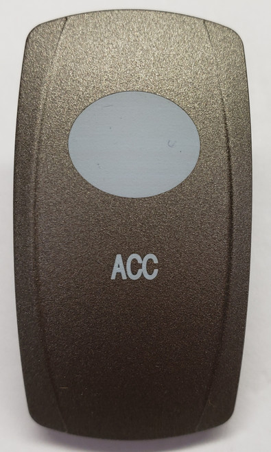 Pewter  Accessory Rocker Switch Cap, Pewter with 1 White Lens, ACC Icon, Carling V Series, VVPZE, 468-36364-001, 033-5081