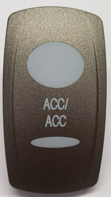 Pewter  Accessory Rocker Switch Cap, Pewter with 1 oval Lens & 1 bar lens, ACC/ACC Icon, Carling V Series, VVPZE, 468-36366-001, 033-5083