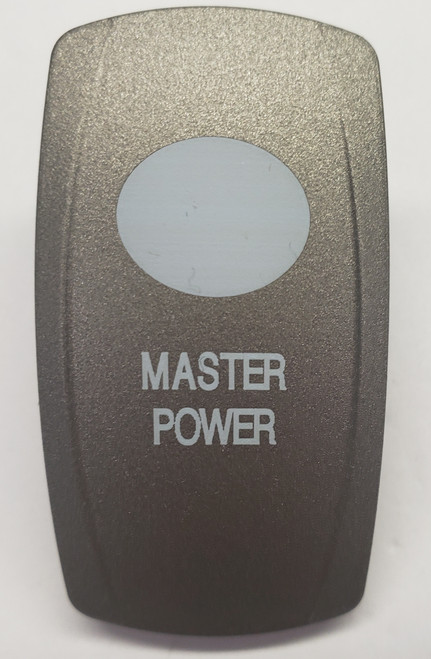 Pewter  Master Power Rocker Switch Cap, Pewter with 1 White Lens,  Carling V Series, VVPZE,033-5074