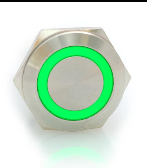 22 mm, sealed, anti vandal, push button,momentary, spring loaded,  green, 110 volt illuminated, DH221NBSGZ110, 110 volt green illumination