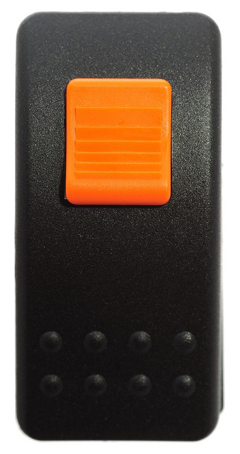 Locking Rocker switch, Carling, V Series, single pole, on off on, momentary, spring loaded, spring return to center off position, lock on actuator, locks in off position,  full switch and cap, protects from accidentally turning it on, V8D1SW0B-AZ500-0