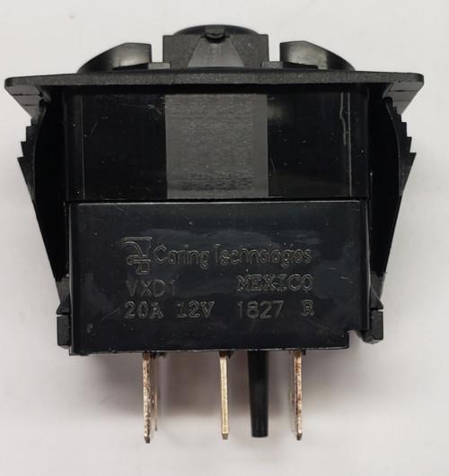 Carling V series dptt, three on positions, no lamps, rocker switch, progressive circuit, dp3t, Vxd1s00b,00022864
