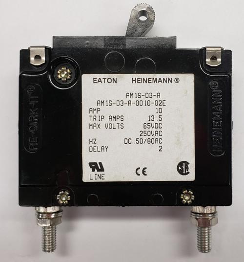 Eaton Heinemann circuit breaker, AM1S series, single pole, 10 amps, stud mount, AM1S-D3-A-0010-02E