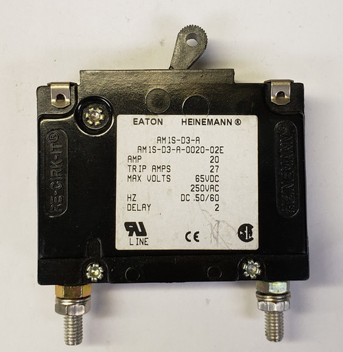 Eaton Heinemann circuit breaker, AM1S series, single pole, 20 amps, stud mount, AM1S-D3-A-0020-02E